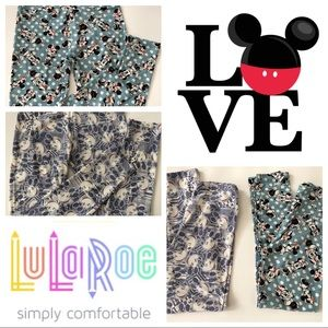 LuLaRoe Two Pairs of Mickey and Minnie Leggings